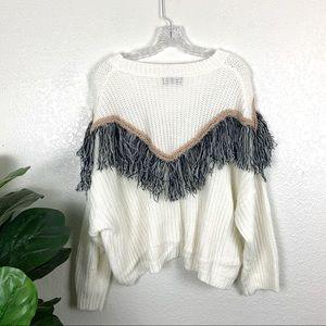 Mustard Seed Sweaters - Mustard Seed White Oversized Fringe Sweater Medium